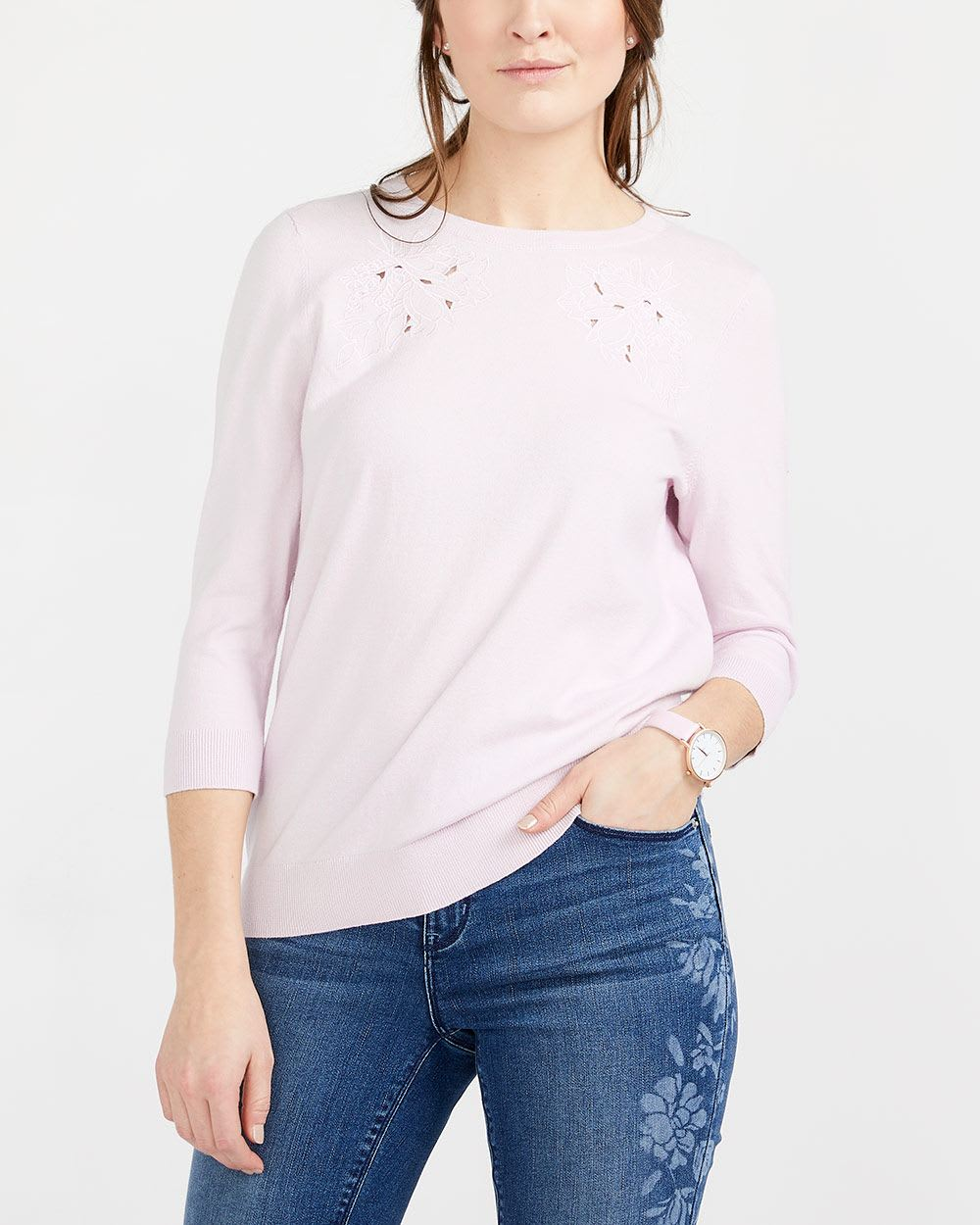 ¾ Sleeve Embroidered Sweater