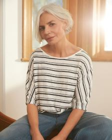 3/4 Dolman Sleeve Striped Crinkle Tee