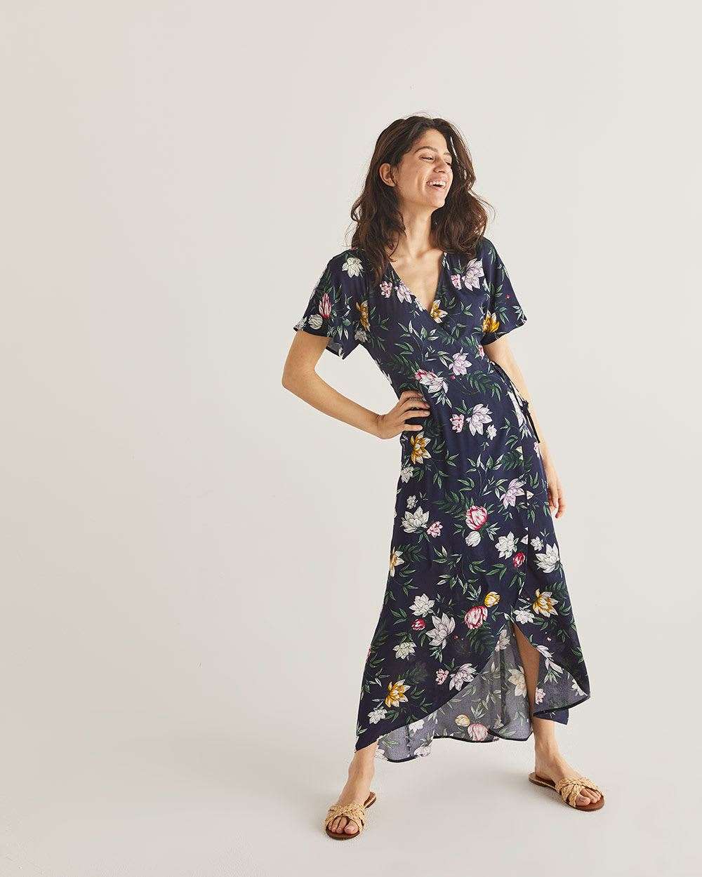 Printed Wrap Maxi Dress with Kimono Sleeves