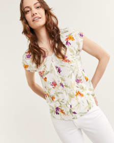 Back Tie Floral Printed Top