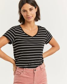 R Essentials Striped V-Neck Tee