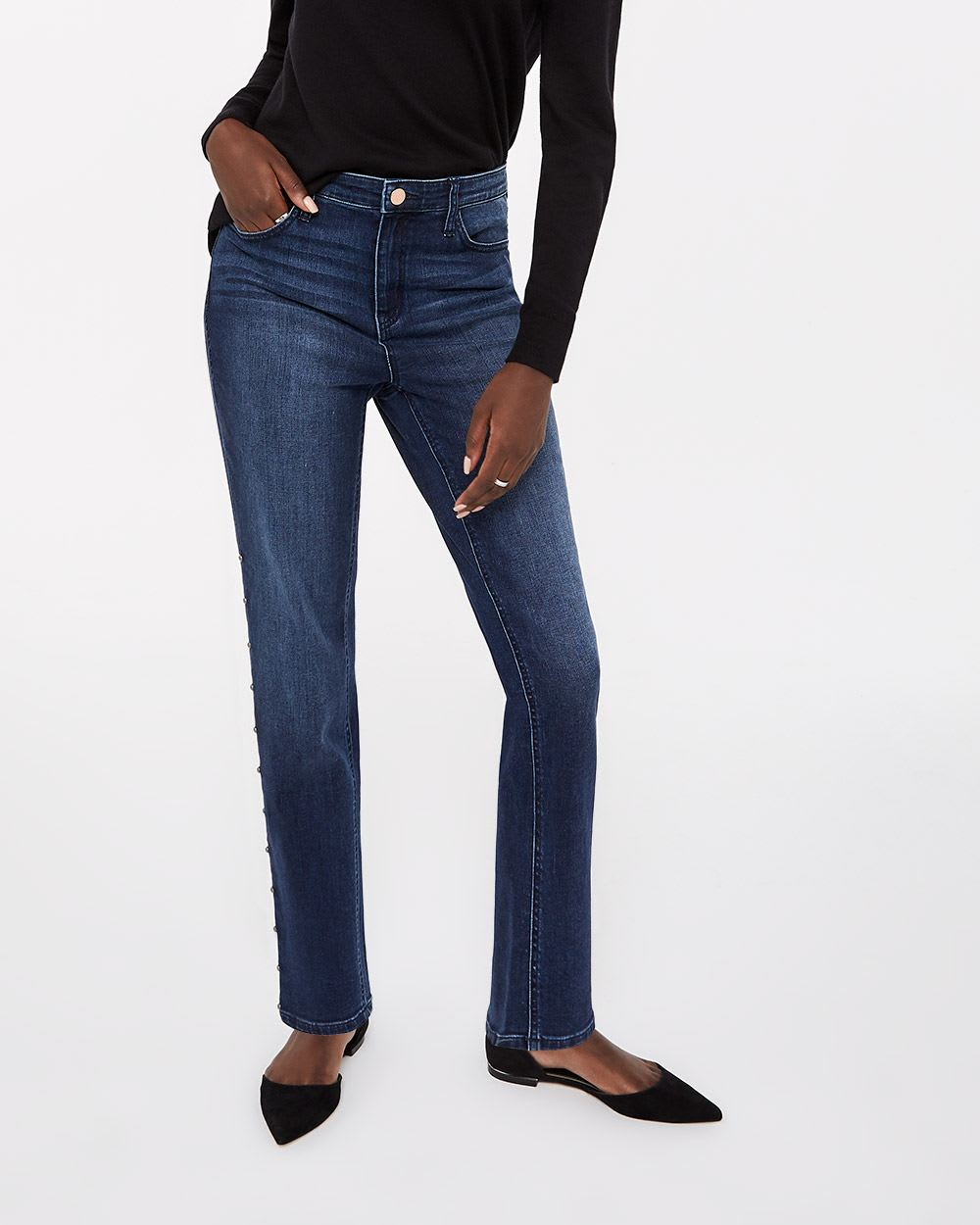 Studded High Rise Dark Wash Straight Leg Jeans
