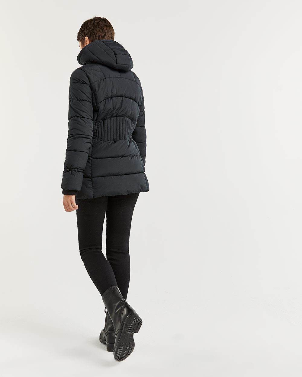 Quilted Winter Coat with Removable Hood