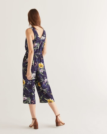 Floral Print Wide Leg Jumpsuit with Sash