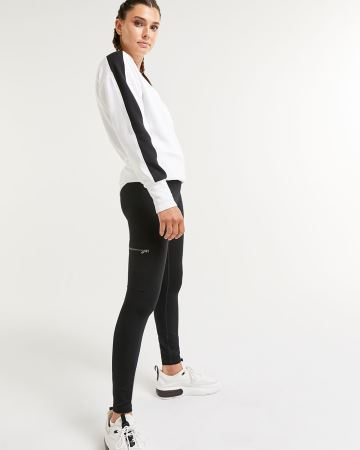 Black Cotton Ankle Leggings with Cargo Pockets Hyba