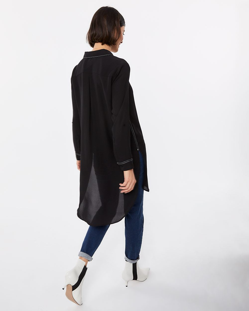 Long Sleeve Tunic with Contrasting Seams - Petite