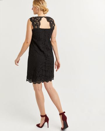 Sleeveless Lace Shift Dress with Back Opening
