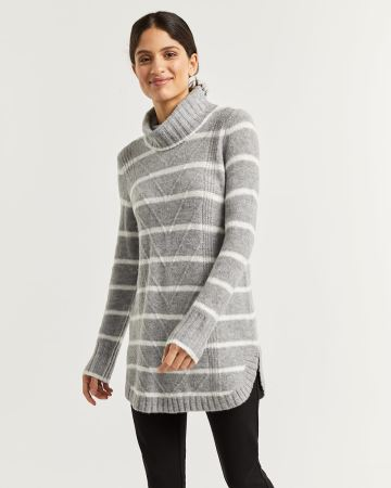 Cowl Neck Striped Sweater with Chevron Stitches