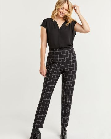 Pantalon fuselé à carreaux