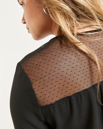 3/4 Sleeve Mesh and Lace Blouse