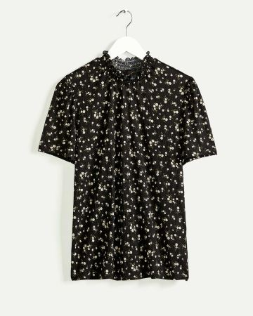 Short Sleeve Mock Neck Printed Top
