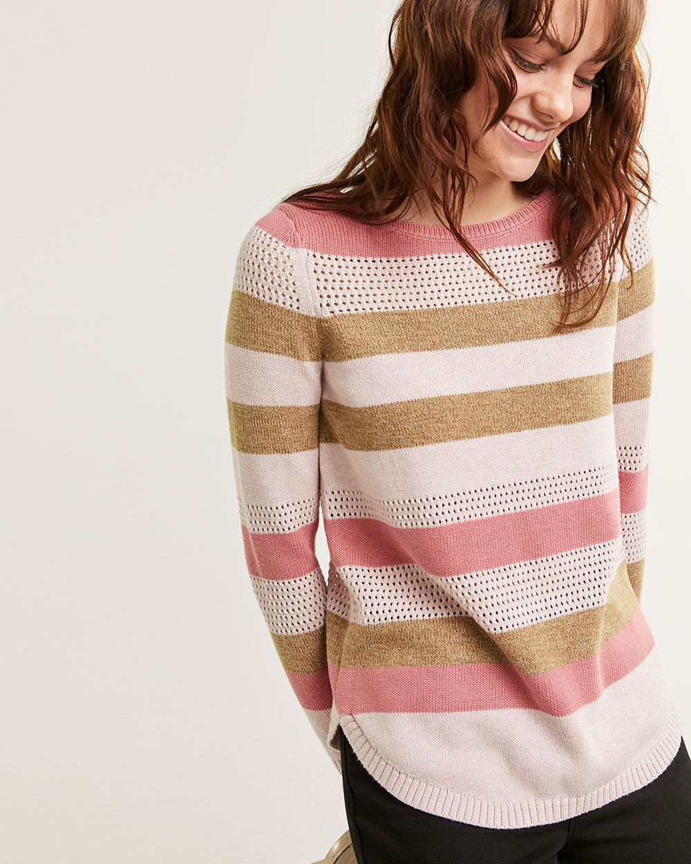 Long Sleeve Boat Neck Textured Stripe Sweater - Petite