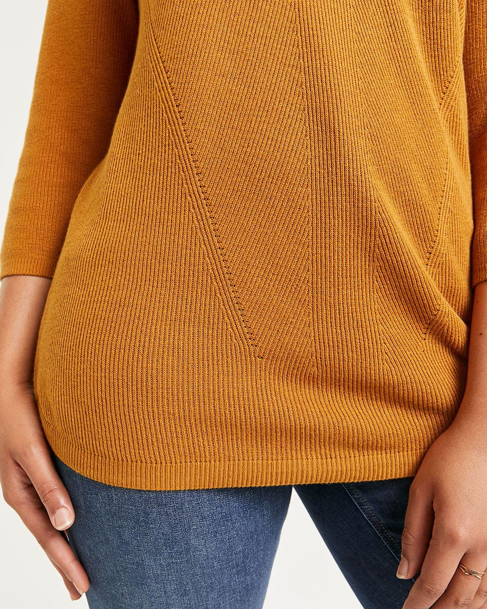 3/4 Sleeve Boat Neck Cotton Sweater