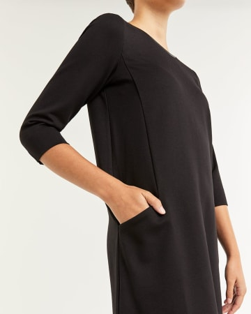 3/4 Sleeve Swing Black Dress