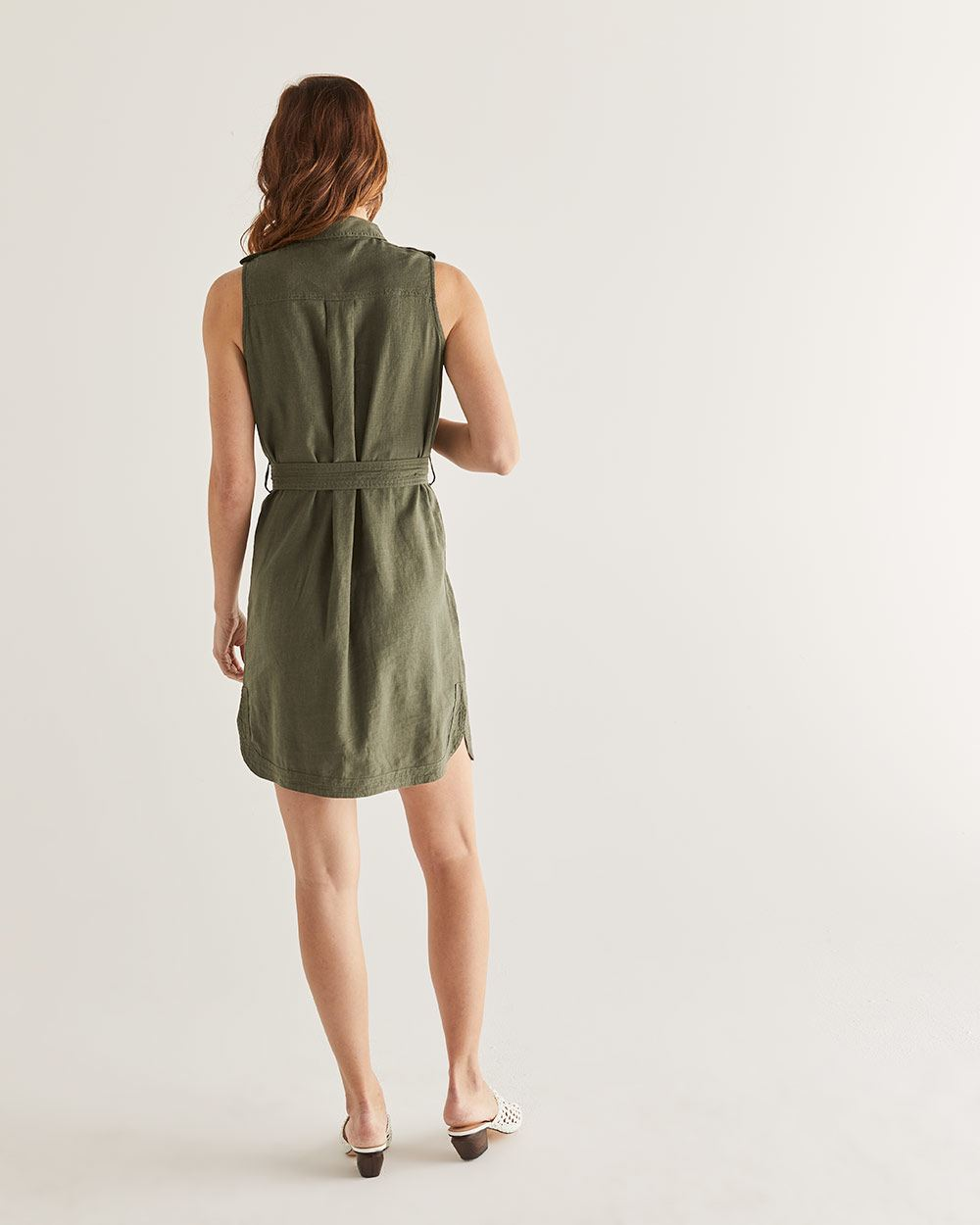 Linen-Blend Shirt Dress with Sash