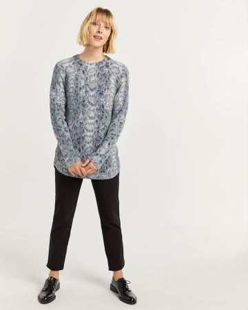 Snake Print Cotton Ribbed Sweater Tunic - Petite