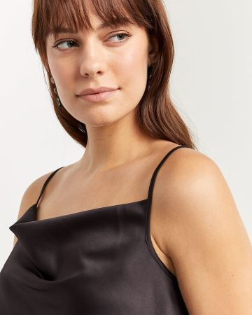 Draped Neckline Satin Cami