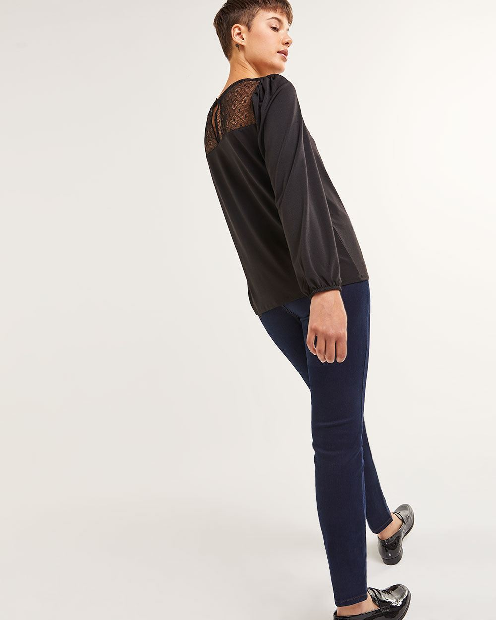 Long Sleeve Lace Yoke Top - Petite