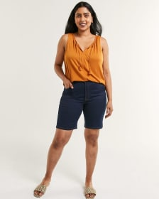 High Rise Denim Bermudas