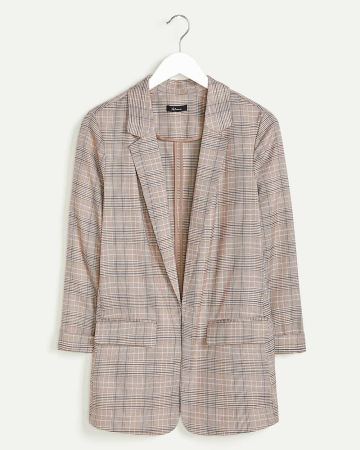 Tailored Collar Glen Plaid Unlined Blazer with Pockets