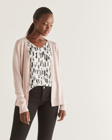 R Essentials Buttoned-Down Cardigan