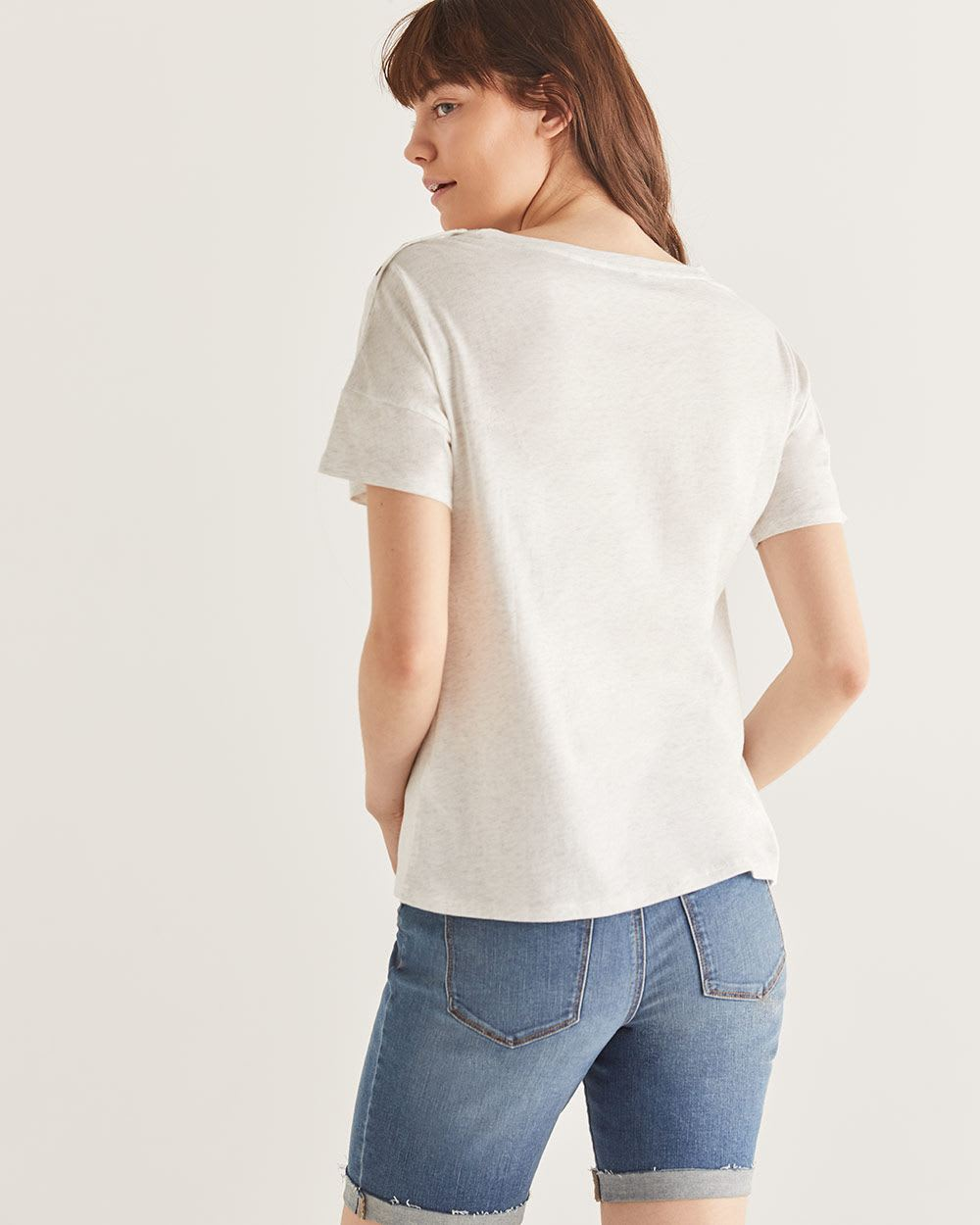 Printed Cotton-Blend Drop Shoulder Tee