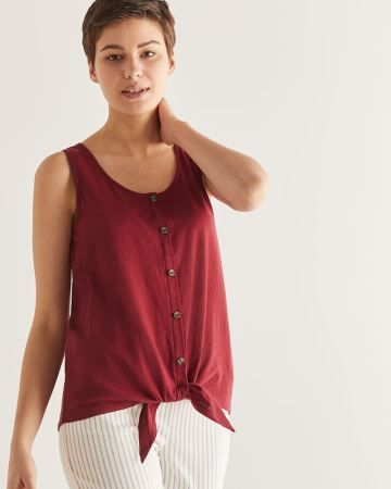 Cotton & Linen-Blend Tank Top with Buttons
