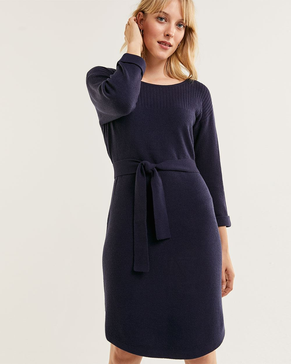 3/4 Sleeve Boat Neck Sweater Dress with Belt