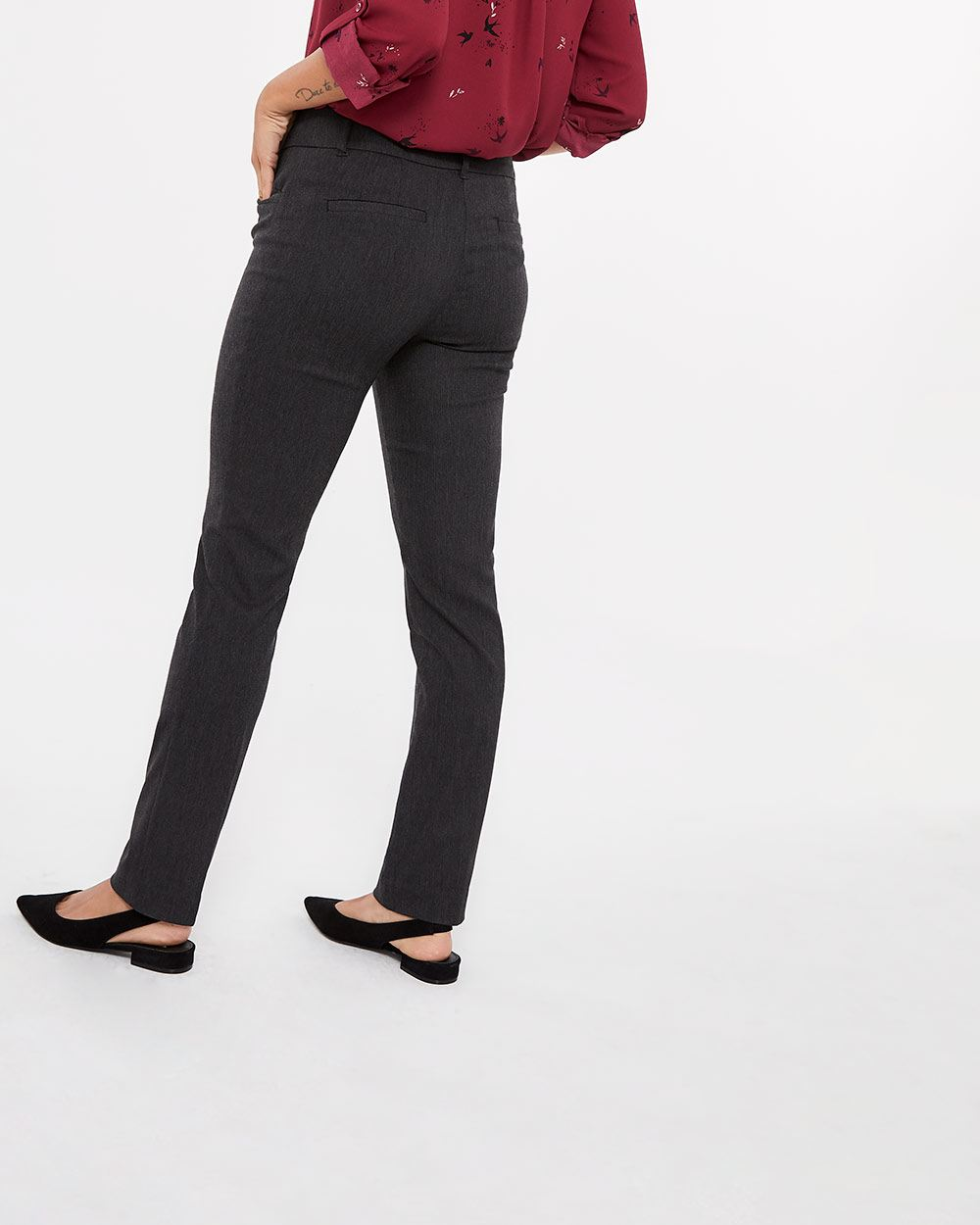 The Petite Iconic Straight Leg Grey Melange Pants