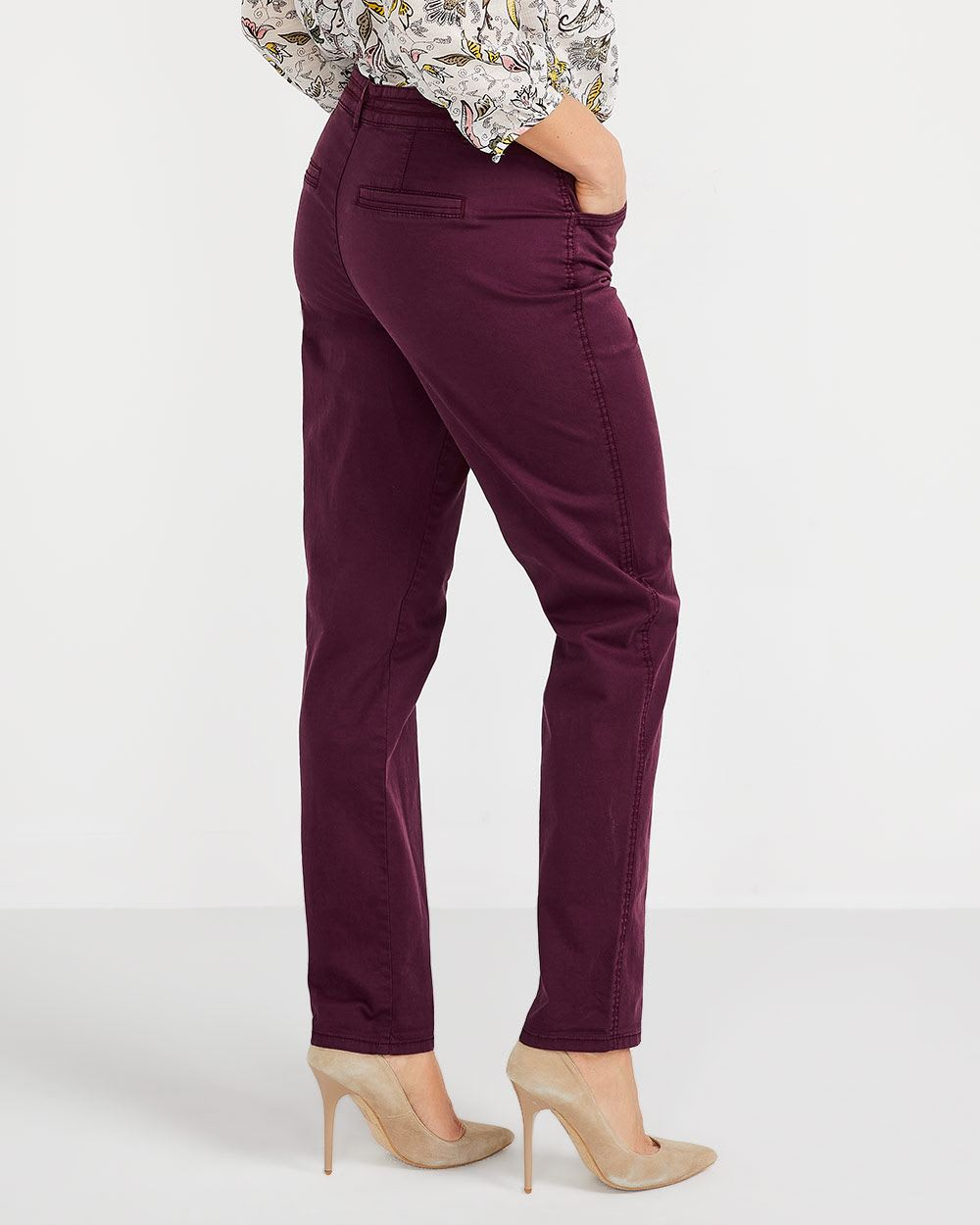 Pantalon Chino à jambe étroite Long