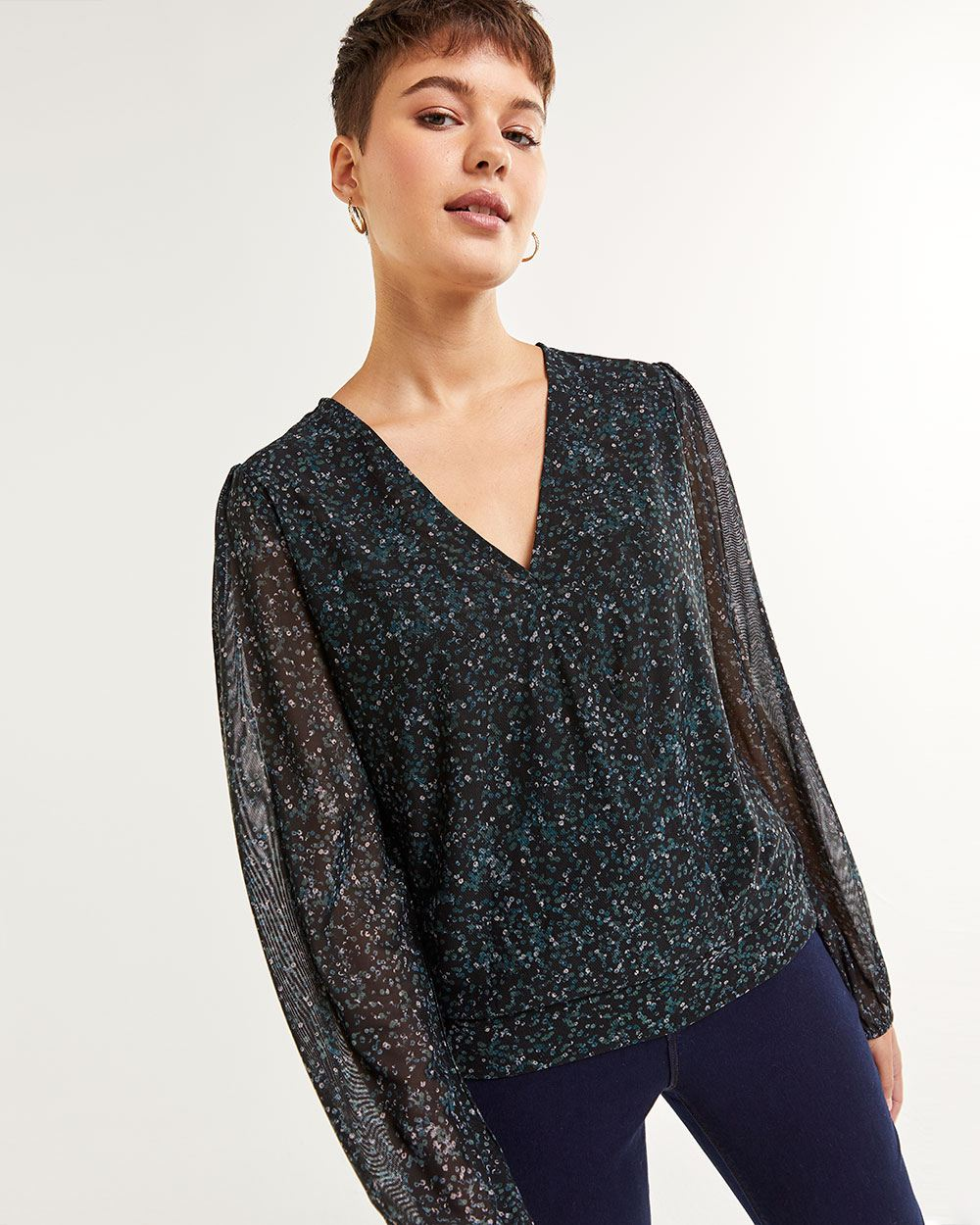 Long Bubble Sleeve Printed Wrap Top