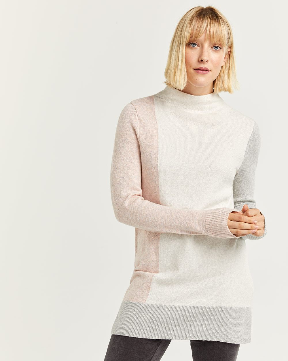 Funnel Neck Colorblock Tunic Sweater