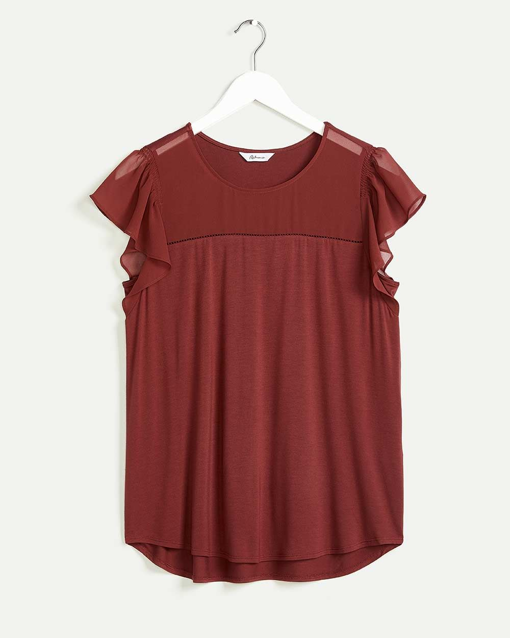Short Flutter Sleeve Mix Media Tee