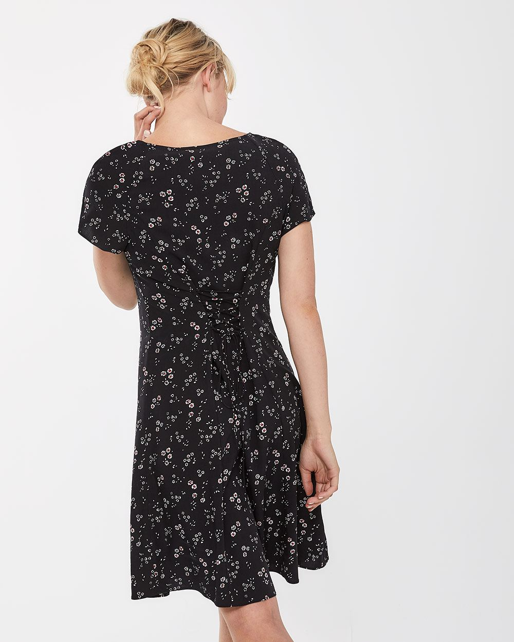 Laced-up Back Swing Dress
