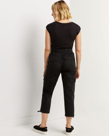 Cropped Cargo Pants with Sash