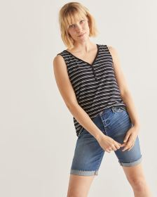 Buttoned V-Neck Stripe Tank Top