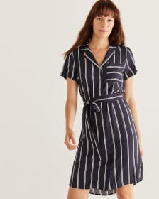 Striped Shirt Dress with Sash