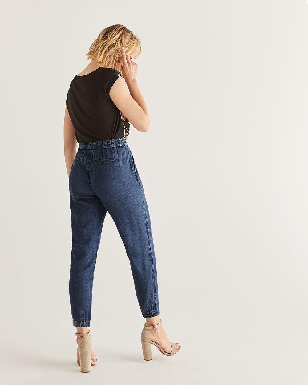 Elastic Cuffs Peg Leg Pants - Tall