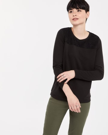 French Terry Lace Long Sleeve Top