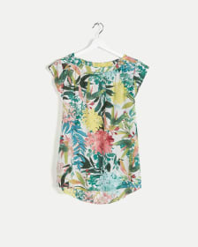 Boat Neck Cap Sleeve Printed Blouse