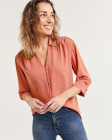3/4 Sleeve Johnny Collar Blouse