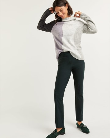 Colorblock Mock Neck Sweater