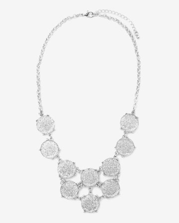 Glitter Medallion Statement Necklace