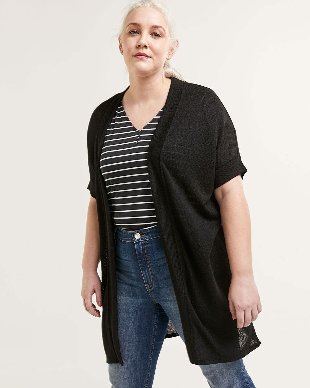Short Sleeve Long Cardigan