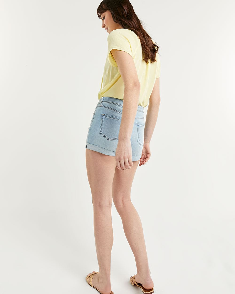 Denim Shorts with Rolled Cuffs