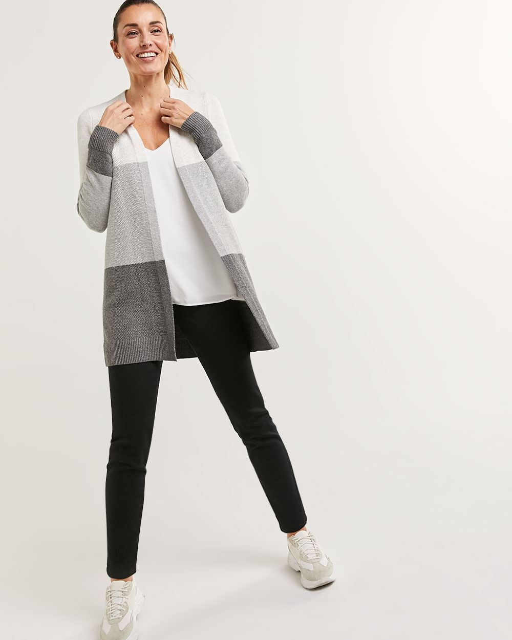 Long Sleeve Colorblock Cardigan with Pockets