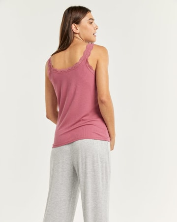 Ribbed V-Neck Pyjama Cami with Lace