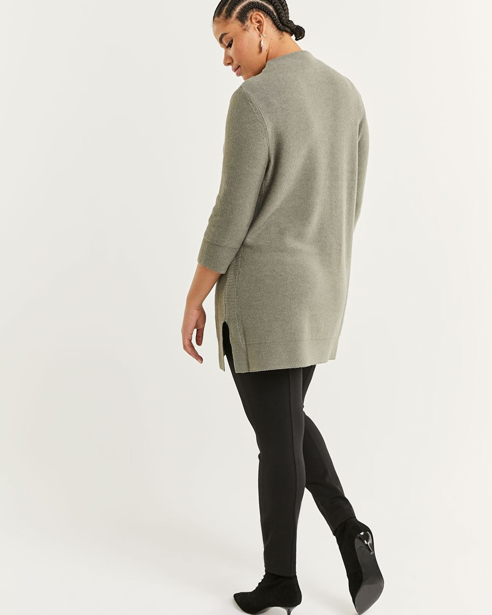 3/4 Sleeve Mock Neck Tunic with Side Slits