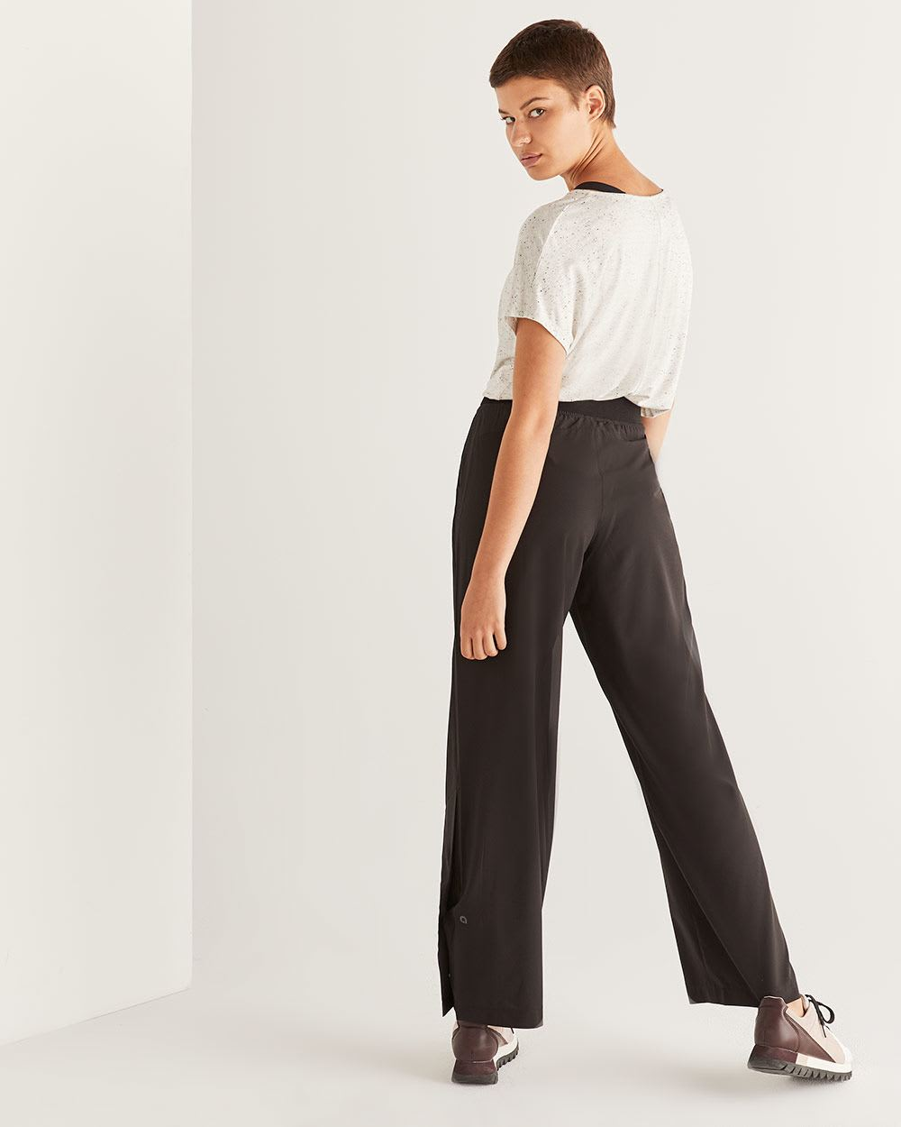 Hyba Black Wide Leg Pants with Snap Buttons