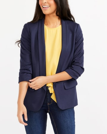 Ruched ¾ Sleeve Open Blazer